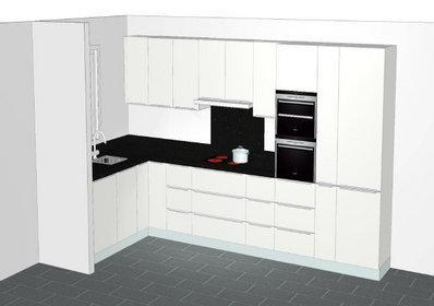 Kleine indeling keuken for Keuken inrichten 3d